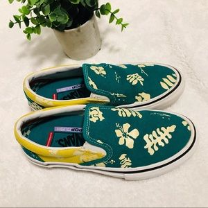 Vans Aloha skate slip on marine / gold (green/gold) shoes size 4.5 Men, 6 women